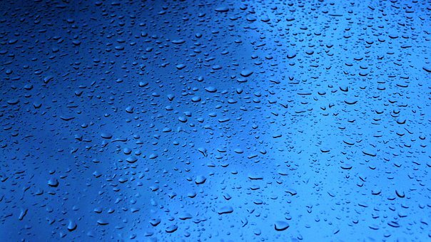 Rain, Drops, Glass, Droplets, Liquid, Drop, Water, Blue