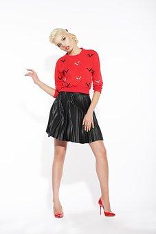 Fashion, Woman, People, Skirt, Blouse, Red, Black
