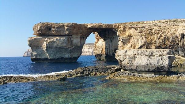 Gozo, Island, Azure, Azure Window, Sea, Rock, Grot