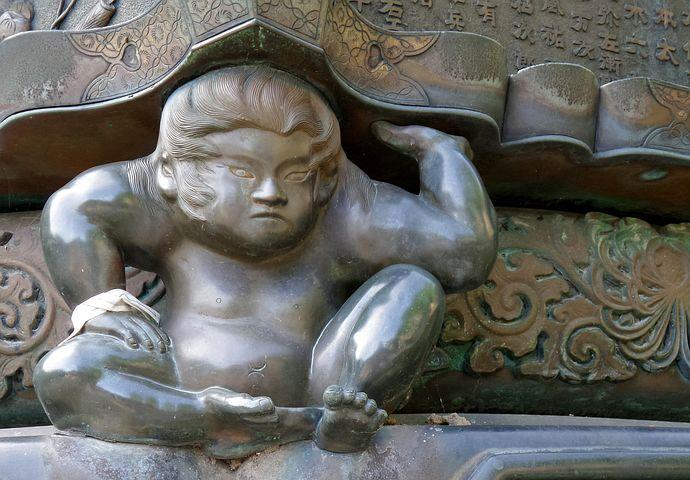 Japan, Temple, Yamadera, Lantern, Sculpture, Boy
