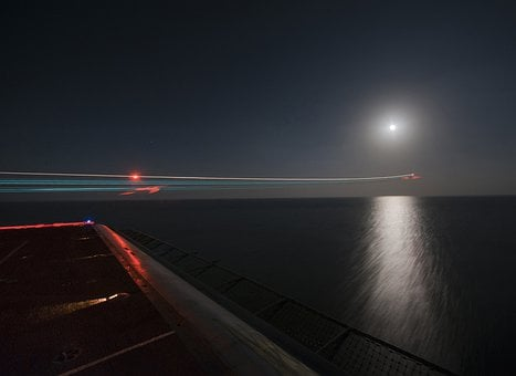 Night, Aircraft Carrier, Ship, Sea, Ocean, Water