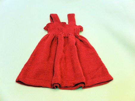 Baby Dress, Fress, Red, Skirt, Cute, Small, Knitt, Wool