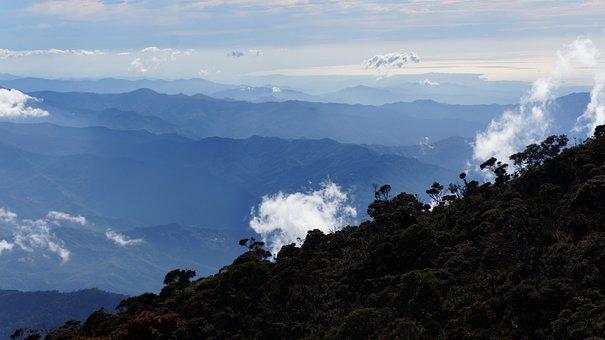 Mountain, Kinabalu, Borneo, Height, Sky, Clouds