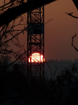 Baukran, Scaffold, Sunset, Sun, Solar Disk, Twilight
