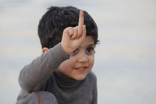 Kid, Finger, Up, Child, Happy, Iraq, Baghdad
