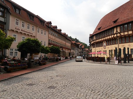 Old Town, Stollberg, Town, City, Village, Paved, Road