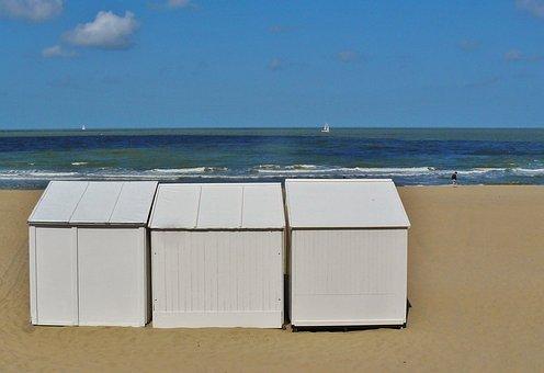Beach, Coast, Sea, North Sea, Surf, Wave, Sky, Clouds