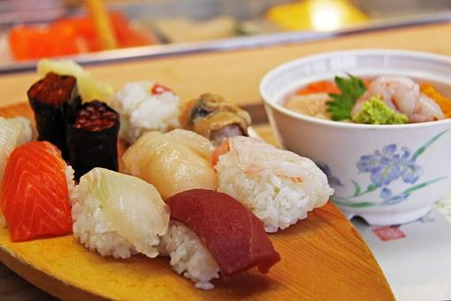 Authentic, Sushi, Sashimi, Shrimp, Prawn, Roe, Raw