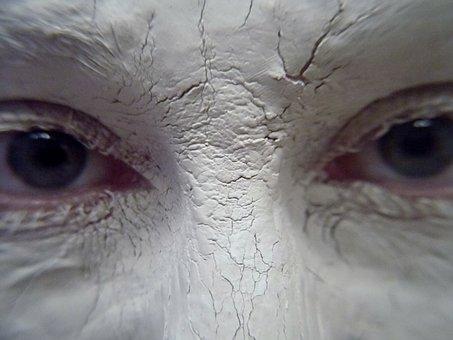 White, Clay, Mud, Eyes, Gaze, Stare, Blue Eyes, Face