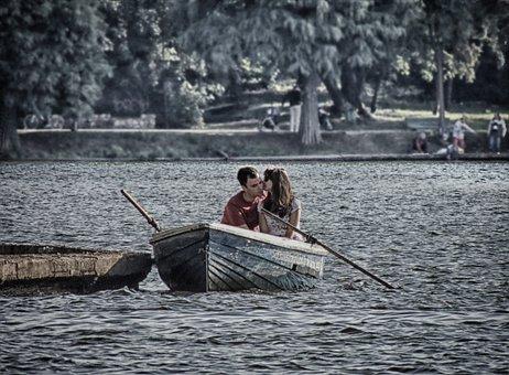 Water, Boat, Couple, Love, Kiss, Herastrau, Romania