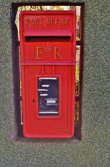 Mailbox, English, British Post Office, Old, Red