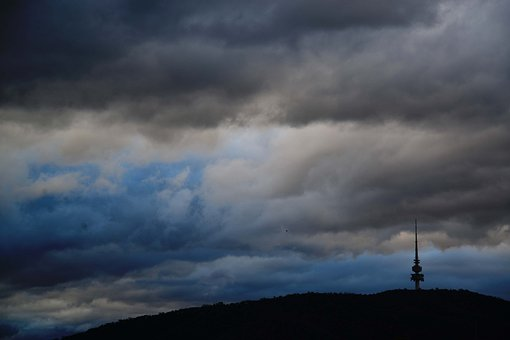 Canberra, Telstra Tower, Bad Weather, Clouds, Australia