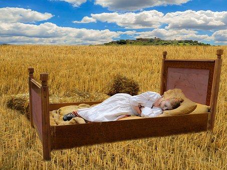 Bed, Cornfield, Sleep, Good Night, Nostalgia, Girl