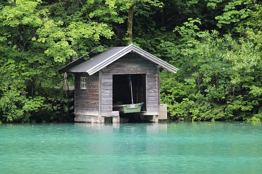Cottage, Boathouse, Lake, Azure Lake