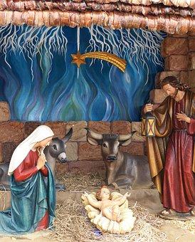 Christmas, Nativity Scene, Crib, Maria, Jesus, Ox
