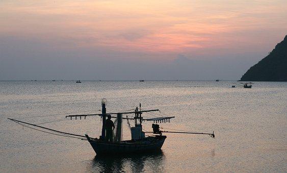 Fisherman, Nets, Mending, Fishing Net, Fishnet, Fishing