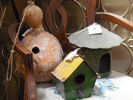 Birdhouse, Gourd, Bird, House, Garden, Country, Rural