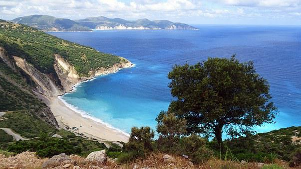 Greece, Island, Cephalonia, Kefalonia, Blue, Sea, Bay