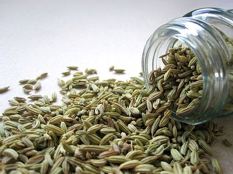 Fennel, Seeds, Spice, Spill, Jar, Glass, Cooking
