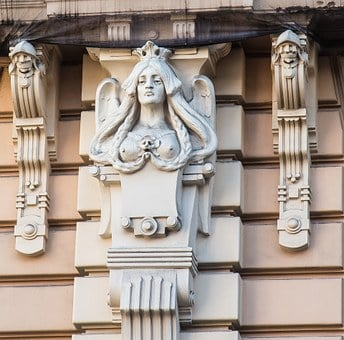 Latvia, Art Nouveau, Baltic States, Riga, Building