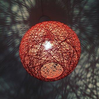 Lamp, Orange, Lit, Light, Wire Lamp, Design, Modern