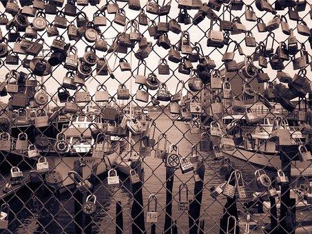 Locks, Lockets, Chainlink, Fence, Hearts, Love, Boats