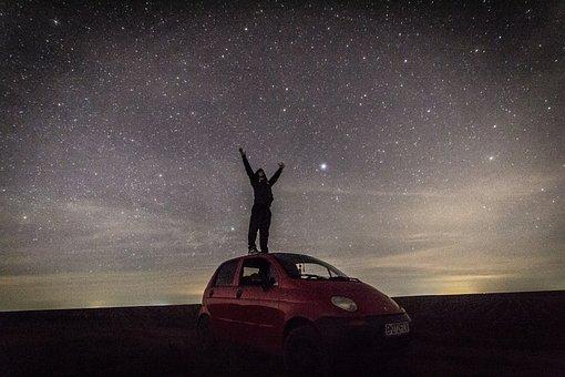 Boy, Stars, Car, Magic, Night, Long Exposure, Sky