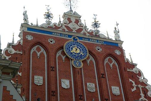 Latvia, Riga, Medieval Town, Clock