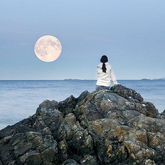 Full Moon, Moon, Girl, Watching, Ocean, Nature, Viewing