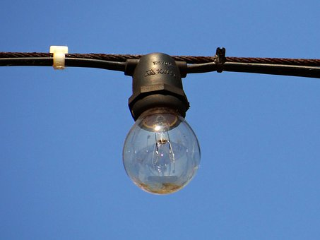 Light Bulb, Suspended, Outdoors, Daytime, Bulb, Light