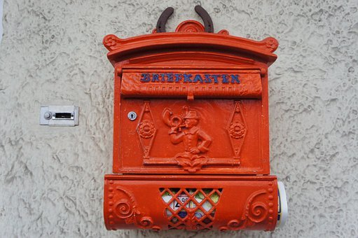 Mailbox, Old, Red, Metal, Post, House Entrance