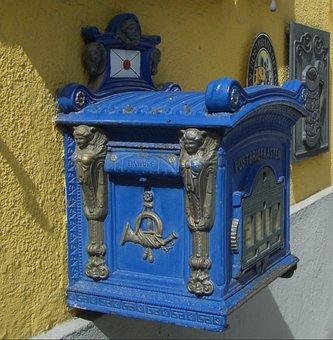Post Mail Box, Nostalgia, Mailbox, Blue, Letter Boxes