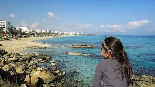 Cyprus, Protaras, Vrissi Beach, Girl, Gazing