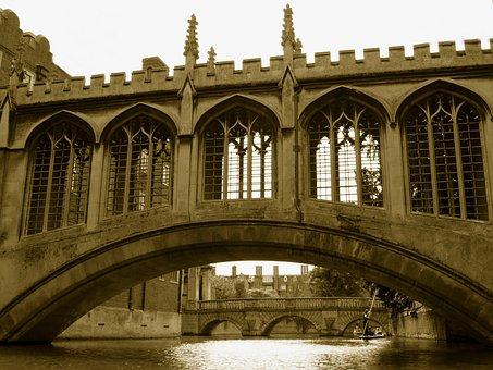 Bridge, Sighs, Cambridge, River, Boat, Punting, People