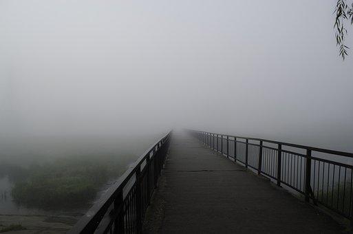 Fog, Bridge, Beach, Vista, Railing, Dampness