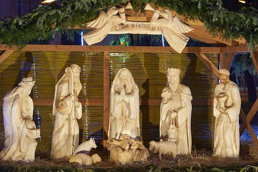 Christmas, Nativity Scene, Carved, Wood, Santa Claus