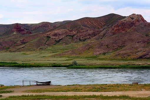 Mountains, Nature, Sky, River, Landscape, Slopes, Grass