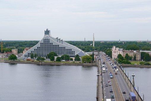 Riga, Latvia National Library, Stone Bridge