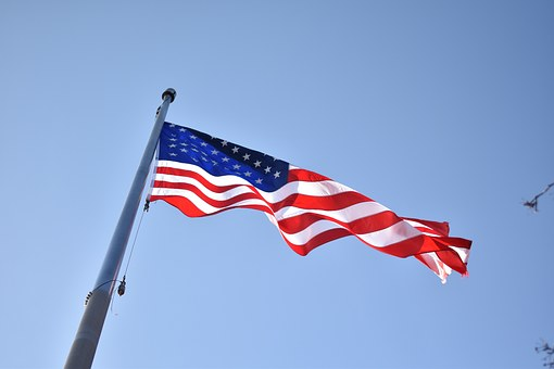 Flag, Flag Pole, Pole, Red, White, Blue, National