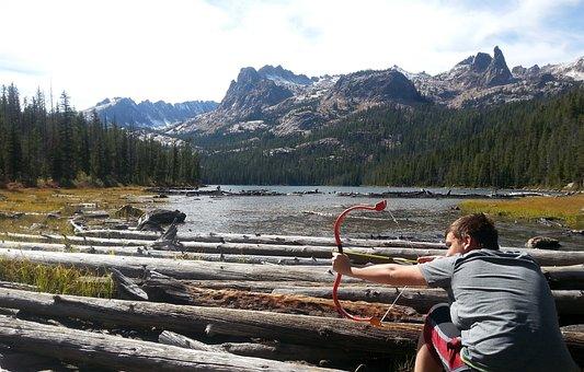 Mountain, Bow, Arrow, Archery, Goofing Around, Boy