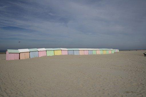 Beach, Cabins, Bathing Huts, Alignment, Sandy Beach