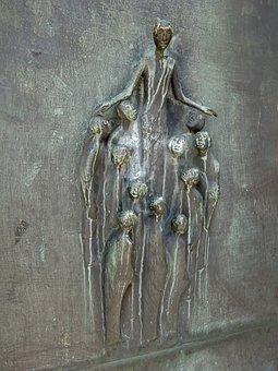 Cologne, Antonitenkirche, Bronze Door, Relief, Art