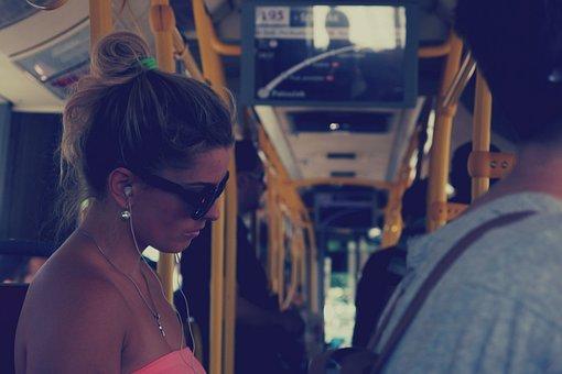 Girl, Woman, Bus, Transportation, People, Sunglasses
