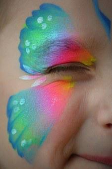 Child, Wink, Eye, Butterfly, Face Paint, Girl, Colorful