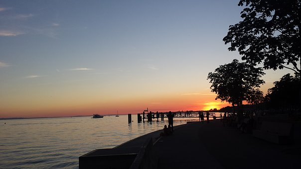 Bregenz, Afterglow, Lake Constance, Austria, Water