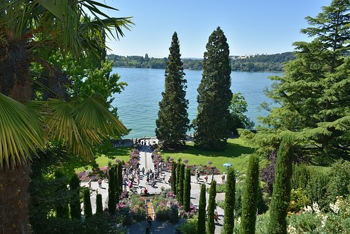 Mainau, Island, Lake Constance, Lake, Stairs, View