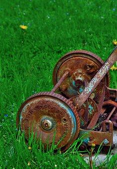 Rusty Lawnmower, Antique, Cutting, Lawn, Old, Machine