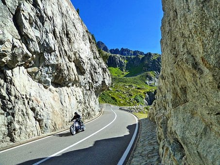 Switzerland, Motorcycle, Summer, Sunny, Mountain, Road