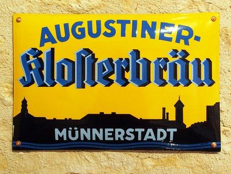 Augustiner Klosterbräu, Münnerstadt, Advertising, Sign