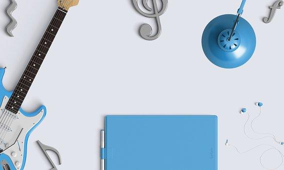 Music, Desktop, Audio, Earphones, Guitar, Earbuds, Blue
